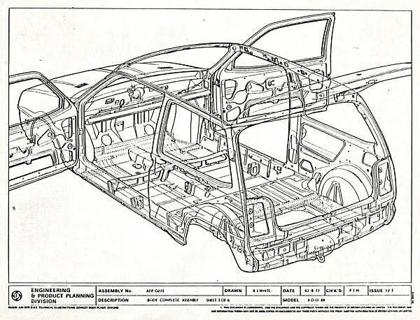 Austin Metro prototype engineering drawings