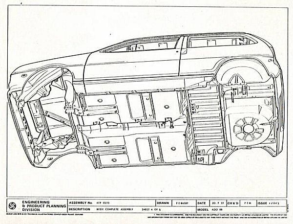 Austin Metro prototype engineering drawings