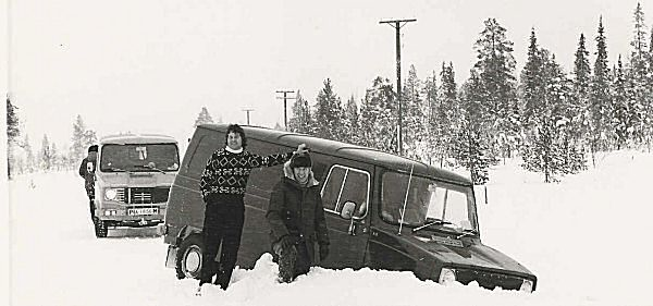Sherpa prototypes undergoing pre-production testing in Finland. The man responsible for its conception, Stan Dews, is wearing the hat, next to him is Brian Hanley, while Ken Daniels is in the background. No doubt, they're contemplating how to dig-out his van...