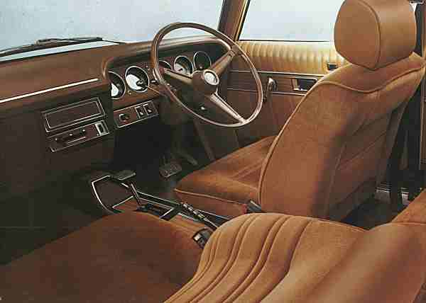 Interior was awash with 1970s vinyl, pleats, velour, fake wood and questionable browns...