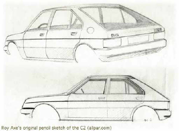 """The original sketch as produced by Roy Axe; as this point in the proceedings, the SIMCA 1100 replacement was known as the """"C6 SWB"""" (short wheelbase)."""