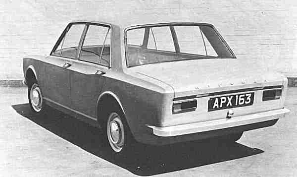 "A rejected proposal for the B Car (Avenger); this boxy saloon with its unusual haunch did not appeal to manangement, but it took clear influences from the Arrow. Note the Sunbeam badging on the front of this car; it was planned that export Hillman Hunter models would be badged in this way. (Picture: ""Cars of the Rootes Group"", by Graham Robson)"