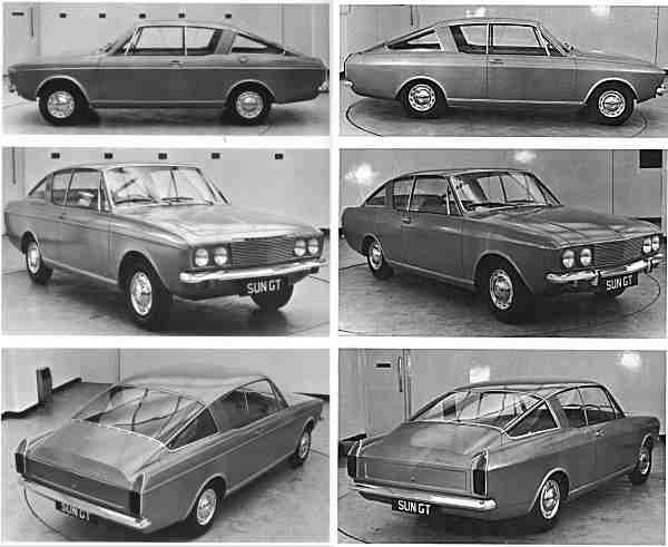 On the left: At this point in time, all body panels were unique to the Rapier, apart from the front wings and bonnet. This forced the use of a raised waist feature line... making it overtly similar to the Arrow saloon, upon which it is based. On the right: The decision was taken to remove this feature line, which meant that all body panels would now be unique to the coupe. The smoother sides were a vast improvement, and the management approved this car for production on the 29th March 1965.