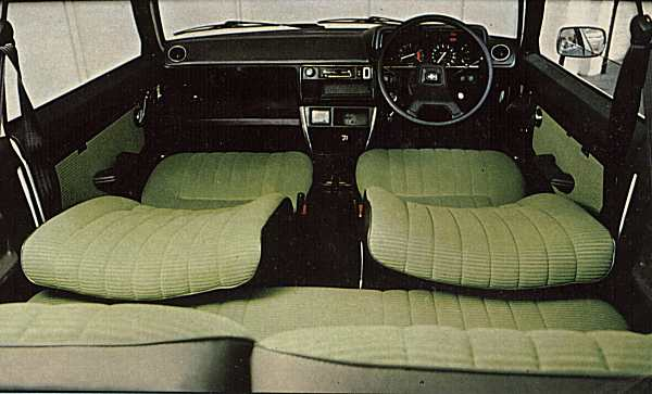 Period interior shot shows off the contemporary dashboard and 1970s interior color scheme. Rear legroom looks tight, even though the driver's seat is pulled well forward.