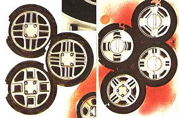 Various designs of road wheel were pursued, with the final solution being a development of the design depicted in the picture on the left..