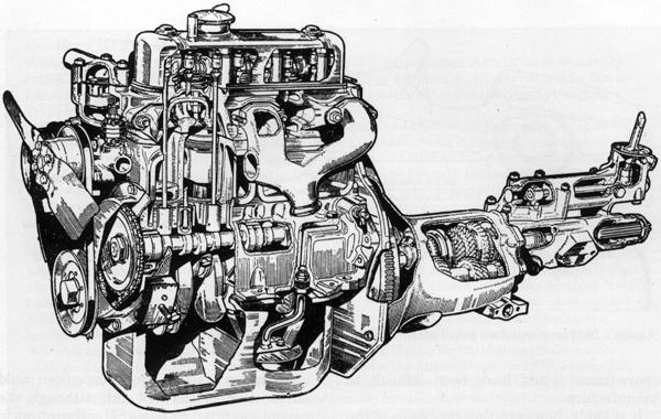 Cutaway drawing of the A-series with end-on gearbox, as used in the Austin-Healey Sprite and MG Midget from 1961 until 1974.