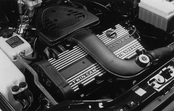 The 16-valve 1.4-litre K-series engine, in situ in the engine bay of a Rover Metro GTi.