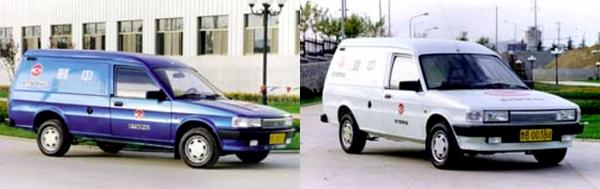 The prototype Maestro-based QE6440 vans, as shown in the Chinese media. These vehicles both bear Qingdao test registration plates, and show the Etsong company logos on their sides.