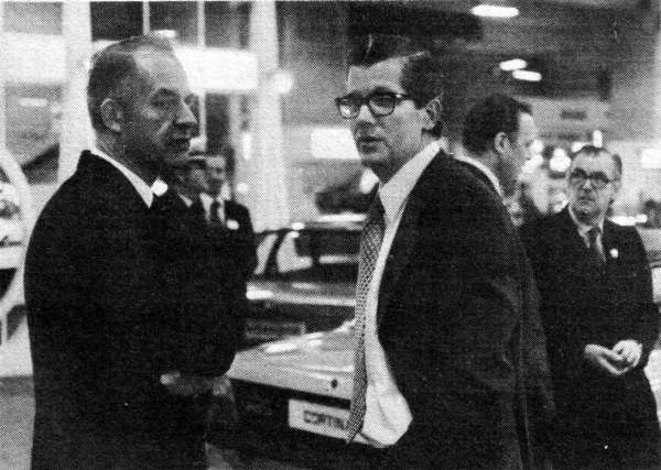 Terry Beckett and BL's Derek Whittaker consult at the British Motor Show in October 1976... (Picture: Ian Nicholls)