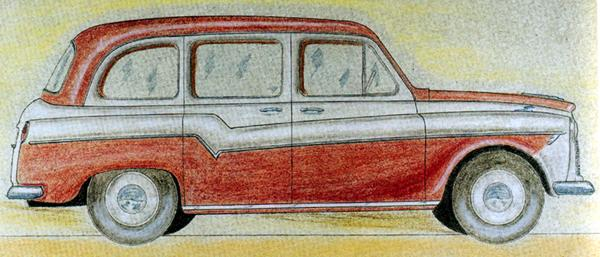 "Black Cab? Bailey's later drawing shows the FX4 all-but ready for production. This drawing formed the basis for the first full-size model built by Carbodies, which followed the same colour scheme – giving the lie to the term ""black cab""."