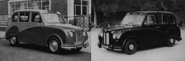 """MkI Winchester (left), in standard two-tone grey, demonstrates that """"black cabs"""" have never actually had to be black, although by 1967, the MkIII version (right) took a more conformist approach."""