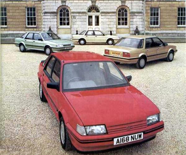 Montego range on display at the launch in 1984: It looked sufficiently different from the Maestro to be seen as an entirely new model, but different it may have been, handsome it was not. The MG Version shown at the front also sported a solid-state dashboard, like the top model Maestros, but it proved so unpopular, it was withdrawn from the model in under a year.