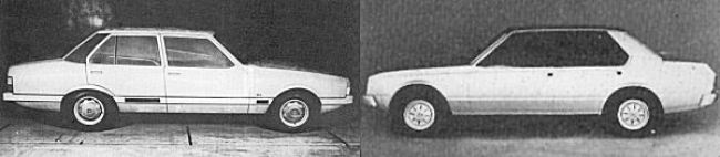 Long nose saloon shoot-out: Australian stylist, Mark Cassarchis' scheme on the left, and Michelotti's rival design on the right...