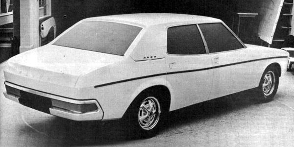 "Full-size styling buck of the P8 circa mid-1967, as styled by David Bache shows that he wanted to achieve an imposing look for the new car, which had been dubbed internally, the ""Mercedes Eater"". Interestingly, this model sported ""4000"" badges on the base of the C-Post, indicating that a mild stretch of the V8 was in order to give the new car the performance required of it."