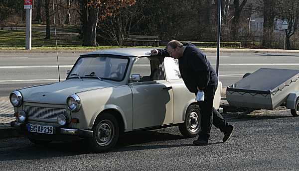 Keith tries in vain to find a crap car to bring home with him - this Trabant was perfect but, alas, not for sale.