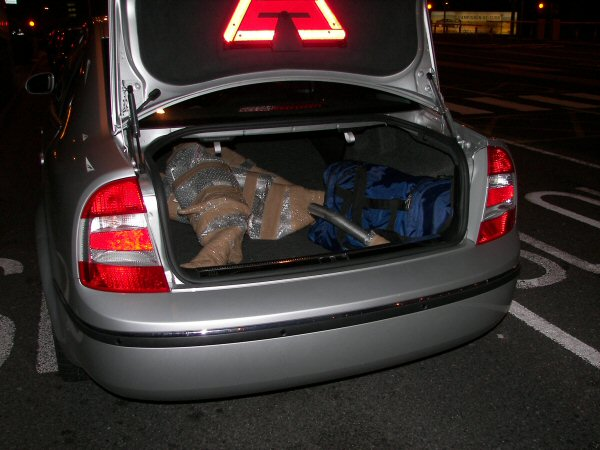 Delivering an exhaust system to Alexander. Lucky the Skoda has a large boot...