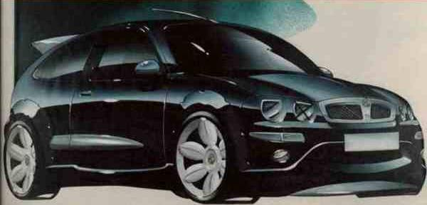 "Peter Stevens was soon working on ways to make the Rover 25 a sportier prospect and worthy of its MG badge. This sketch shows the way he was thinking – note the taped ""X""s on the headlights – a real racer's touch."