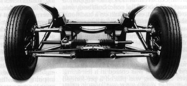 "The sophisticated ""Torsionic"" independent front suspension set-up as used on the post-war RM series cars. As related in the paragraph above, its design was derived from that used on the Citroën Light 15. During the following decade, another Citroën – the 2CV – inspired Alex Moulton to develop his interconnected Hydrolastic suspension system that would be used on the last-ever new Riley model to be launched..."