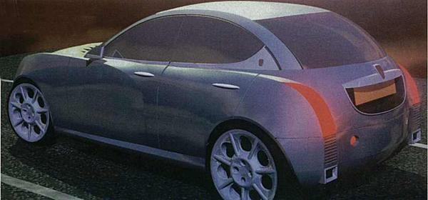 "The image shown above (which were published in Autocar in 1998) were early ""themes"" produced at Gaydon on their ""Alias"" imaging system - they were not representitive of how the car would end up looking, but they did demonstrate that Gaydon was thinking in terms of a ""retro"" feel (note the heavy use of chrome, and the ""Auntie"" grille)."