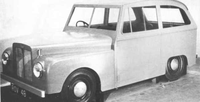 """1951 mock-up of the """"Road Rover"""" had a touch of """"Toytown"""" about it, but the 2WD rugged utility wagon, as devised by Gordon Bashford, seemed like a good idea to Rover's management at the time. The continued success of the Land Rover lessened the need for a more civilised brother, so its development continued at a leisurely pace."""