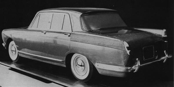 This shot records the styling transition from Princess 3-Litre to Java. A quarter-scale model of the 3-Litre was used as a starting point, and the revised rear wings and bootline were worked up in clay. The front of the car would also be given a makeover...