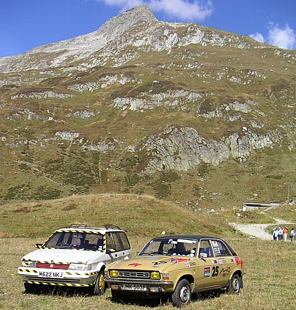 Brothers in arms: Tony Hague and Richard Smith of the Maestro and Montego Owners Club kept a watching brief and kept us company in the Mountainous Swiss stage of the event…