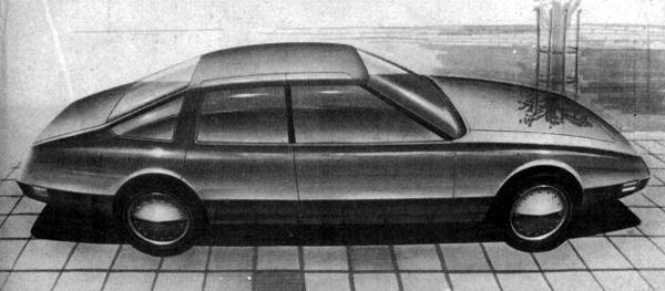 "This drawing was produced by David Bache in the late 1960s, whilst the aborted Rover P8 was still in development. Right from the outset, Bache knew that he wanted a fastback saloon or hatchback. This rendering shows that the basic proportions were already set in his mind, the style was still some way from being finalised, though. Note the 'clam shell"" side doors, which would facilitate access into the cabin – years ahead of their time."