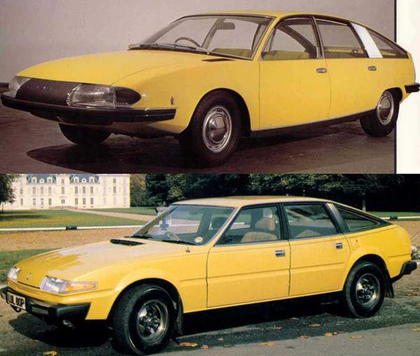 Front three quarter view shows the similarities between the two cars into great relief. Not only was the SD-1 a car influenced by this Pininfarina creation, but also the Citroën CX (which appeared before the Rover in 1974) and also smaller Citroën GS. Pininfarina did actually act as consultants on the GS design, which appeared in 1970 - I wonder what might have been had BLMC taken their option on the 1800 and smaller 1100 and produced them instead of the Allegro and Princess?