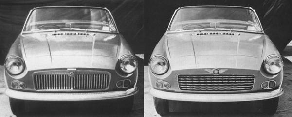 "The different frontal treatments devised for the MG (ADO34) and Austin-Healey (ADO36) variants. The Austin-Healey's badge reads ""Austin-Healey Sprite"". The sidelight/indicator units appear to have been sourced from the contemporary Morris J4 van."