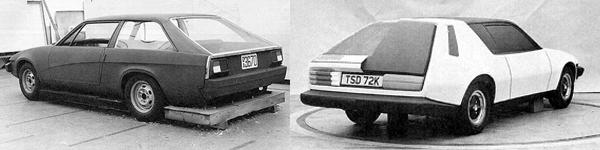 Left: Project Lynx was re-evaluated in 1972, following the establishment of the TR7 as BLMC's corporate sports car. Unlike the earlier Lynx, this one was related to the fixed head coupé already in development: this time, the TR7. The objective was to extend the TR7 and improve its accommodation. Initial ideas centred on a sports estate version, somewhat akin to the Reliant Scimitar GTE. Right: The sporting estate theme can be seen again in this double-sided proposal (the other side is shown below). Interestingly, the rear end treatment of this model was less pleasant to look at (being reminiscent of the AMC Gremlin), but more in keeping with the razor edged front end. Either way, it was overlooked in favour of an all-out coupé in the mould of the Ford Capri.