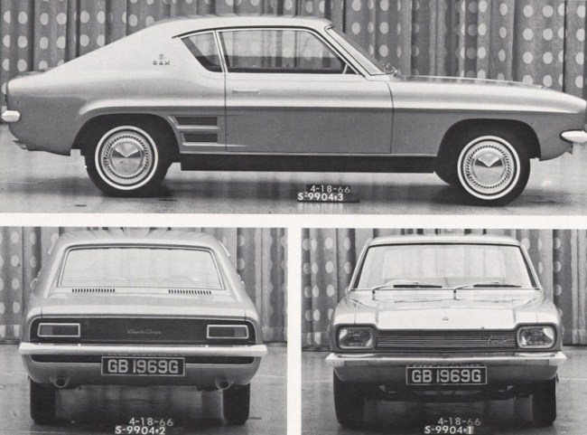 April 1966, and it would seem that the Capri's design is now finalised – aside from the rear-side window profile.