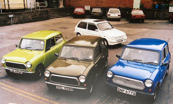 The 9X cars pictured together in Longbridge in 1987...