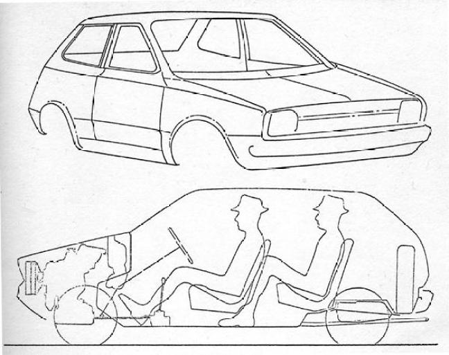 These outline drawings date from the very early stages of the project. The configuration of the K-series engine and its 72 degree backwards slant is very obvious in the lower diagram, although it has to be said that the passenger accommodation looks decidedly suspect.