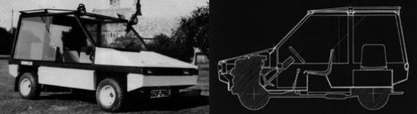 The original prototype Hustler, as presented in the autumn of 1978. The blueprint-style rendering on the right clearly shows Towns' novel use of canteen chairs...