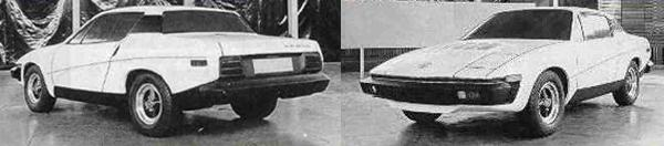 "1971 and the Triumph TR7 styling is almost finalised. Impact absorbing bumpers are incorporated and compared with the styling of the earlier Bullet proposal, looks good while managing to integrate the monolithic US-style bumpers, and this model does without the targa roof of the earlier car. This particular clay model sports the ""MG Magna"" badge, but in reality, thanks to the way the sports car plan shook out, the MG TR7 was never much more than a pipedream - at this stage."