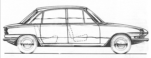 """Michelotti's sketch of Barb indeed shows many similarities with the earlier proposal, but translated into a four-door, six-light scheme. The first full-sized model of the car produced by Michelotti looked remarkably similar to this rapidly produced sketch. The tail was lengthened, and a """"peak"""" was added over the rear window (by Standard-Triumph) at the insistence of Harry Webster."""