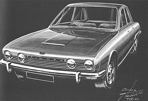 Michelotti's initial sketch for a revamped 2000 model, following the brief given to him by Triumph management