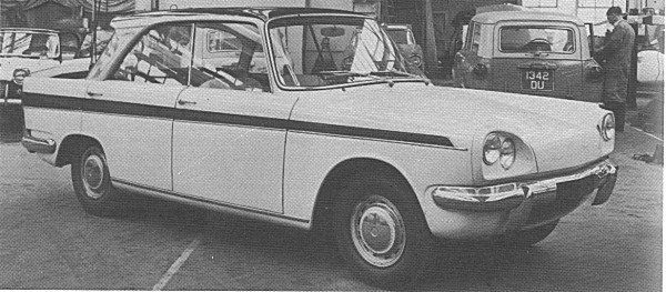"Once the cat was out of the bag regarding Ford's future plans and their decision to introduce their ""reverse rake"" models, the reaction at Triumph was to effect a rather panic-stricken facelift. This is the Zebu model with a later (and more pleasant) front end treatment shorn of its characteristic rear window."