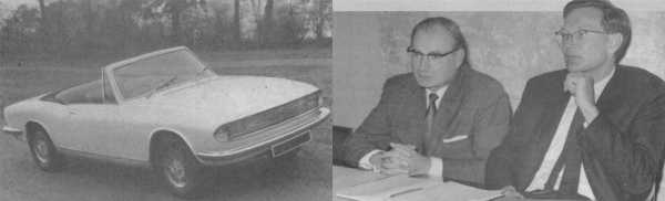 Another view of the Michelotti prototype - and the two men that were responsible for getting it into production. Harry Webster (left) brought the design back to Coventry and worked hard on productionising it, while Spen King (right) ensured that the engine used in the Stag was in three-litre form, as he felt the car needed more power