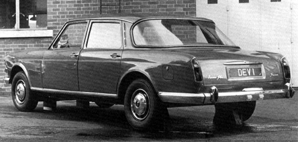 In 1966, as part of project ADO61, this Vanden Plas version of the forthcoming Austin 3-litre was prepared, with a view to replacing the Vanden Plas Princess 3-litre. The car is something of a curate's egg: while the front appears to have benefited from the restyling, the decision to install a wraparound rear screen in place of the Austin's six-light arrangement has served to upset the balance of what many observers consider to be the original car's most attractive viewing angle. The project was cancelled as a result of the 1968 merger with Leyland. The 1960s brought another new direction for Vanden Plas, when a commission from Fred Connolly, whose company supplied hides to all the top motor companies, led to the production of a luxuriously trimmed version of the new Morris 1100. By the end of the decade, the Vanden Plas range had been reduced to just the 1300 version of this car (although the Kingsbury factory also produced the Daimler DS420 limousine). When producton of the 1300 ended in 1974, it was replaced by an upmarket version of the Austin Allegro, the Vanden Plas 1500.