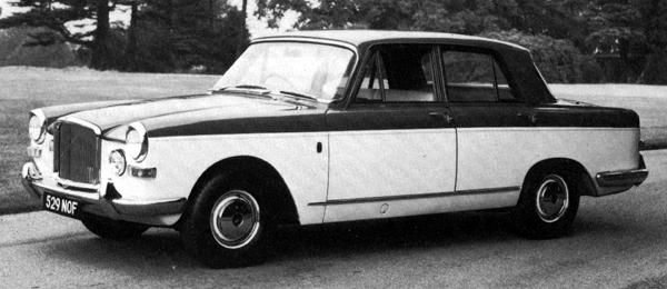 Prototype of the Vanden Plas 4-litre R – the car that George Harriman insisted that BMC could sell 200-per-week of: the concept of the car was fundamentally sound, as was the Kingsbury developed interior and exterior restyle. Despite this, it failed to live up to Harriman's ambitious sales targets.