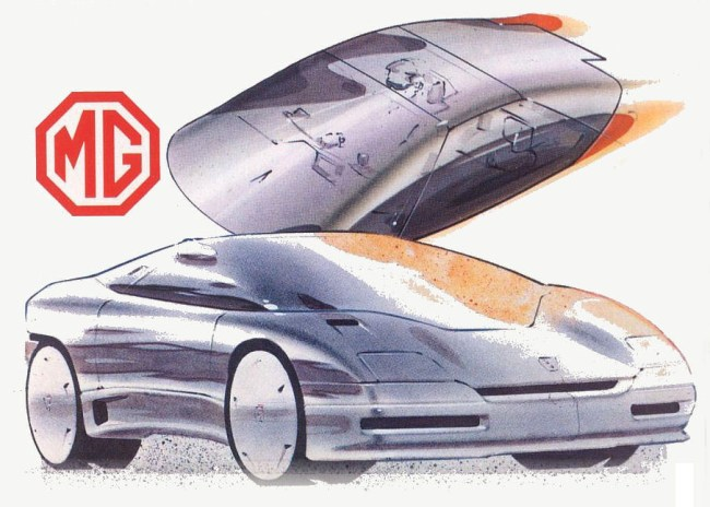 MG EX-E styling sketch produced by the Roy Axe studios in Canley