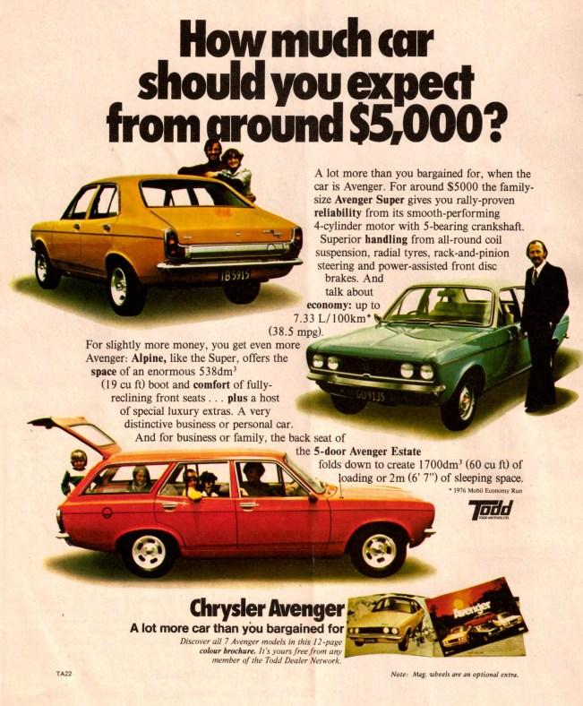 1977 Hillman Avenger advert