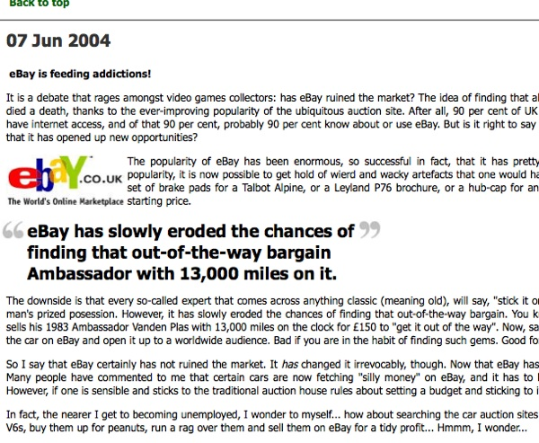 The first AROnline blog in June 2004, and we've been chuntering since
