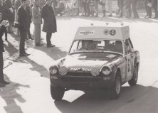 John Sprinzel's MG Midget with extra tank onthe roof leaves Crystal Palace, first stop the Lenham Cafe on the '68 London to Sydney Marathon