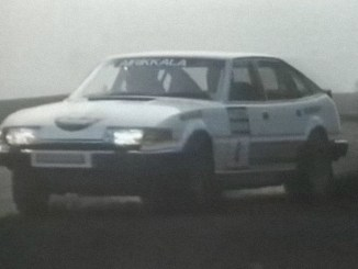 Pentti Arikkala at the wheel of a Rover SD1 at the Austin Rover Rallysprint 1983