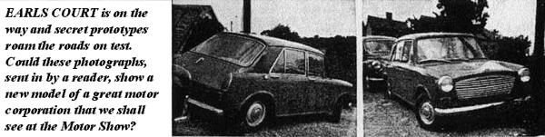 Previous scoop image of BMC's new small saloon, taken in 1959