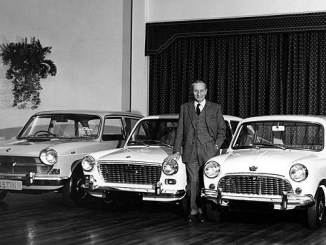 Sir Alec Issigonis witgh his remarkable range of FWD saloons