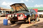 It took nine hours ofwelding, fettling and hammering to get the big Holden converted to Toyota dampers - all Lusaka has to offer that could be made to fit.