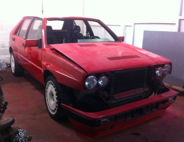 Keith's new Lancia Delta being prepped for its respray...
